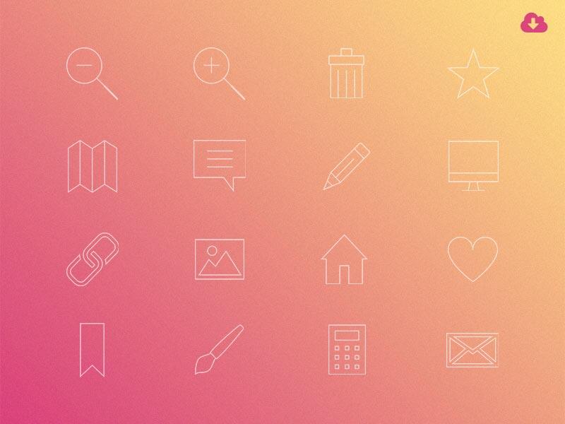 Freebie: Minimal Gradient Outline Everyday Icons Pack