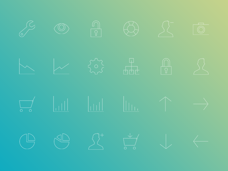 Freebie: Minimal Gradient Outline Administration Icons Pack png psd icon pack everyday outline minimal administration admin icons freebie free