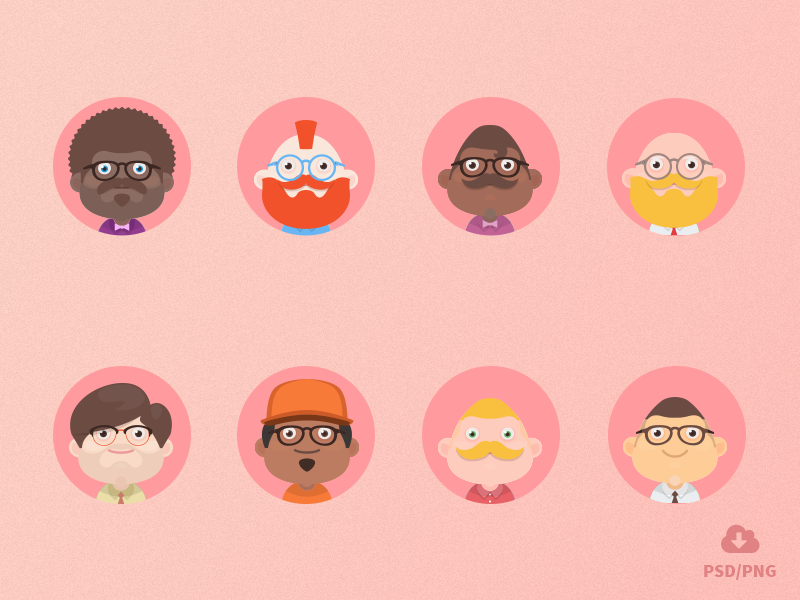 Free Material design avatars! by Oxygenna on Dribbble