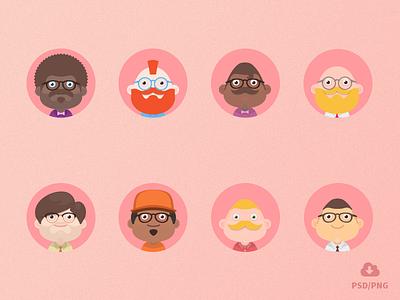 Free Material design avatars! freebie psd flat material design avatars png material avatars