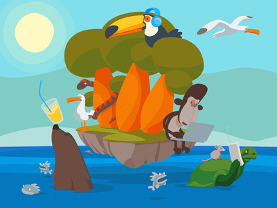 Floating Island Project summer island vector illustration