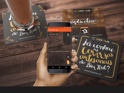 Bierhub AR App and Brand Elements wooden wood photo camera app wine alcohol orange coaster beer virtual reality vr augmentedreality augmented ar elements brand