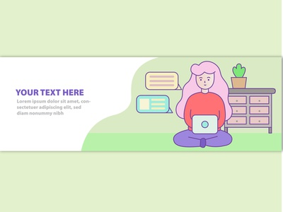 Work from home web banner with illustration banner design banner flat branding design illustration website web