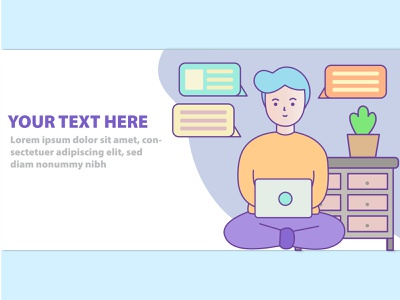 Work from home banner for website vector website web illustration design banner design banner