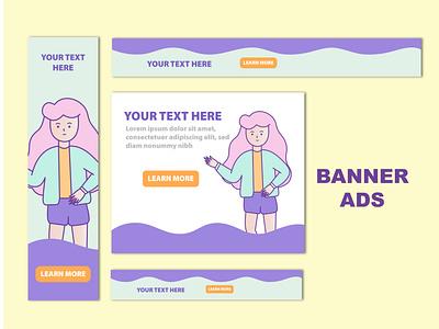Banner Ads Design advertisement advertise ads branding minimal web website illustration design banner design banner
