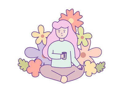 Enjoy Your Live florals vector girl design art flat branding illustration