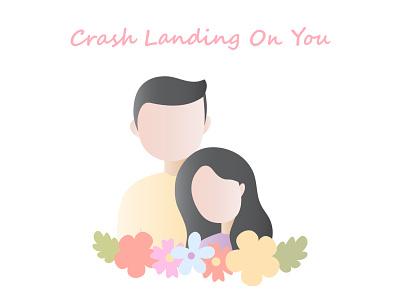 Crash landing on you korea couple drama korean vector minimal flat branding banner design banner illustration design