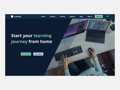 E learning landing page website minimal ui landing page design landing page illustration design
