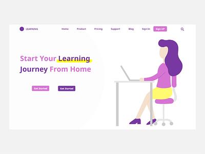 E learning website landing page ui website vector minimal flat branding banner design banner illustration design