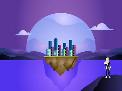 Float City Illustration web website branding banner ui vector minimal flat illustration design