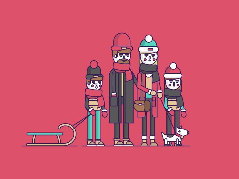 Family stroke flat family character illustration