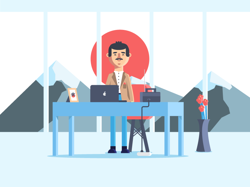 Japan office suit man japan design flat illustration office character