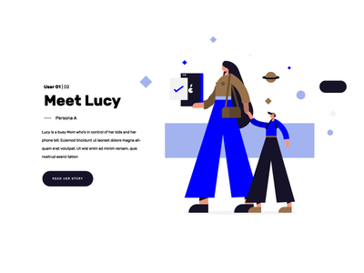 Lucy universe phone care son mother mum character illustration
