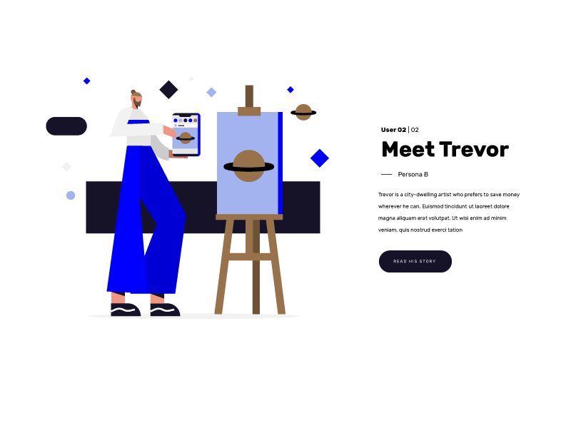 Trevor webdesign web artist mobile phone character illustration