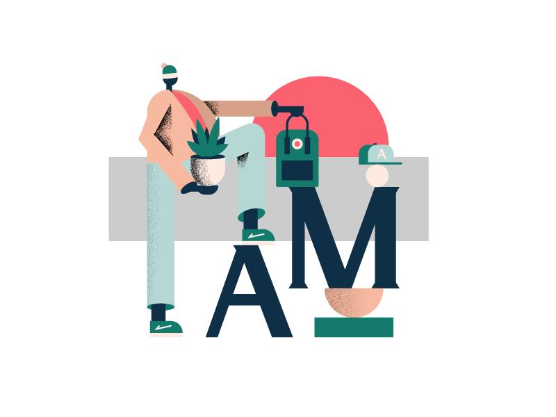 AM sun cap bag flower webdesign web character illustration