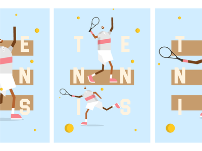 Tennis poster poster webdesign web ball tennis character illustration