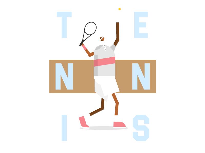 Serve poster webdesign web illustration character tennis