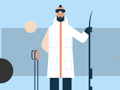 Skier geometric winter skier ski boy man character illustration