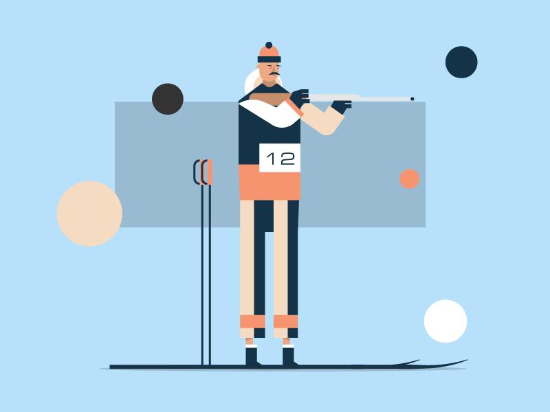 Biathlon skier ski biathlon man character illustration