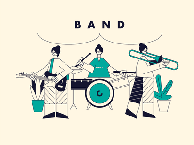 Production plant flower saxophone drums guitar band music group woman character illustration