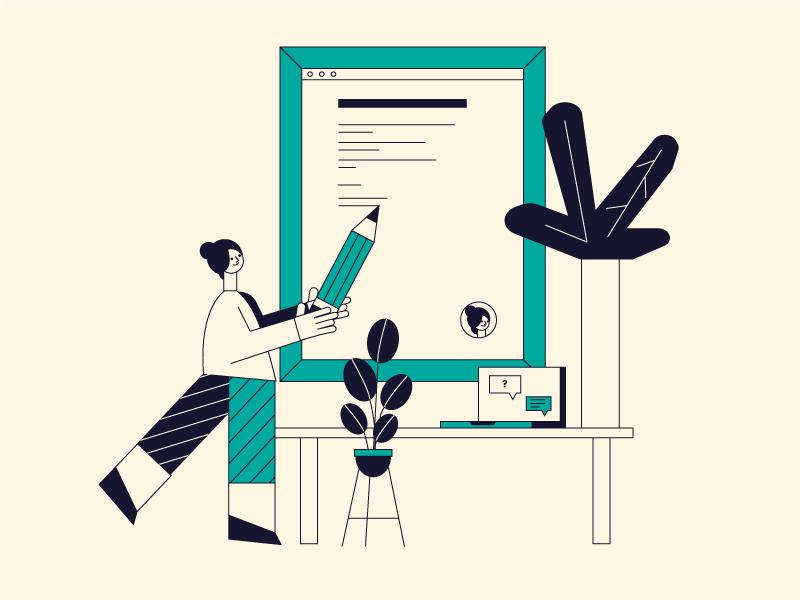 Script frame plant flower writer write illustration character script