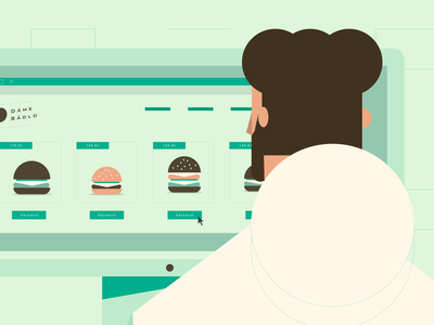 Order it! ux ui design webdesign web boy flat hamburger burger imac illustration character man shopping shop