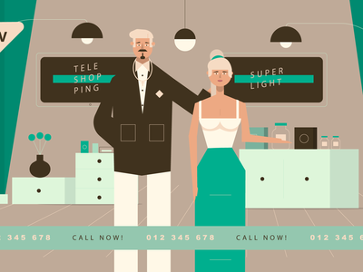 Teleshopping branding ux ui vector typography teleshopping web design woman girl man character illustration