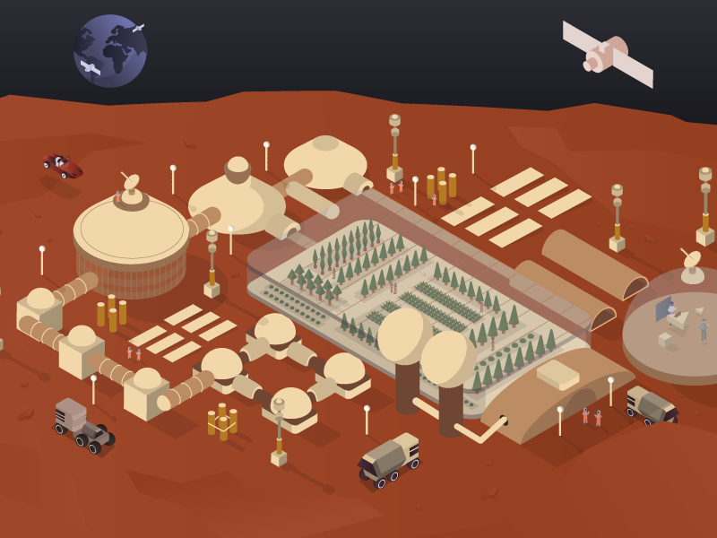 Mars world earth dron satelite car character house building isometric design isometric illustration isometric isometry mars
