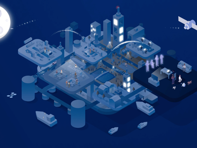 Earth character lamp drone boat house building isometric illustration isometric design isometric isometry night earth