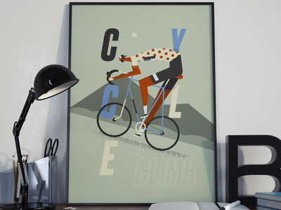 Cycling poster cyclist cycle cycling boy grain texture character man illustration