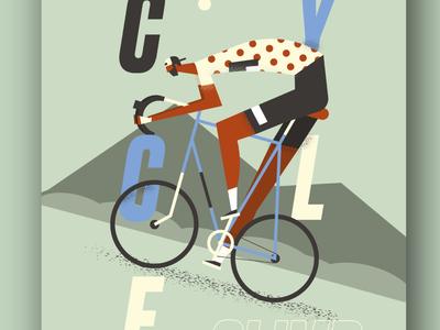 Cycling poster cyclist cycle cycling boy grain texture character man illustration