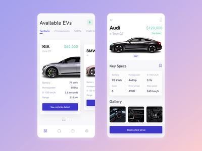 Electric Cars - eCommerce App uxui automotive ecommerce application app design electric car car app uidesign productdesign