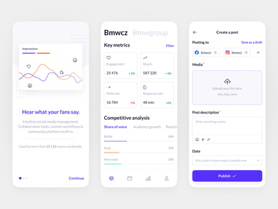 Social Media Management App UI social media tool mobile dashboard competitive analysis social media account create a post productdesign uidesigner uxui saas content planner analytics app social media management mobile design ui