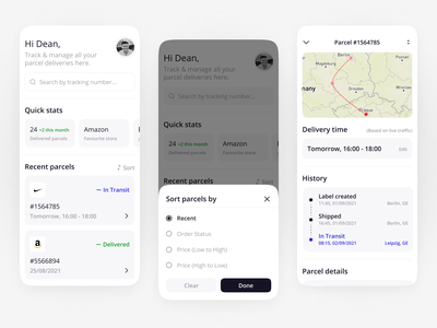 Delivery Shipping App UI shipping shipment logistics tracking map delivery parcel productdesigner uxui ui designer mobile design app design