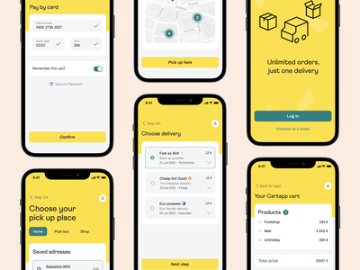 Cartapp UI yellow fresh box mobile design products payment delivery online shopping ecommerce platform ecommerce branding productdesign ui