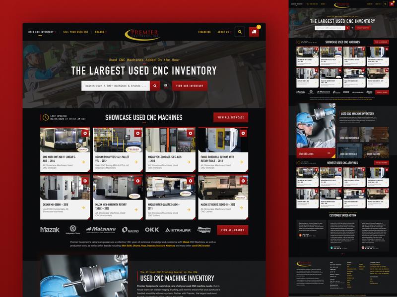 Premier Equipment Site Launch dark ui dark mode industrial typography orlando designzillas ux ui website web design