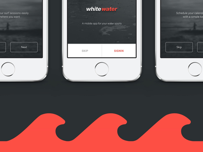 White Water App - P2 water sports session tracker ios icon user interface ui app white surf