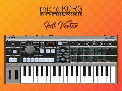 MicroKorg Full Vector electronic vocoder synthetizer synth illustrator ui instrument music keyboard microkorg korg vector