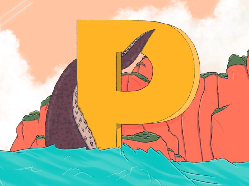 P art animal type octopus letter p 2d 36daysoftype07 36daysoftype texture illustration design