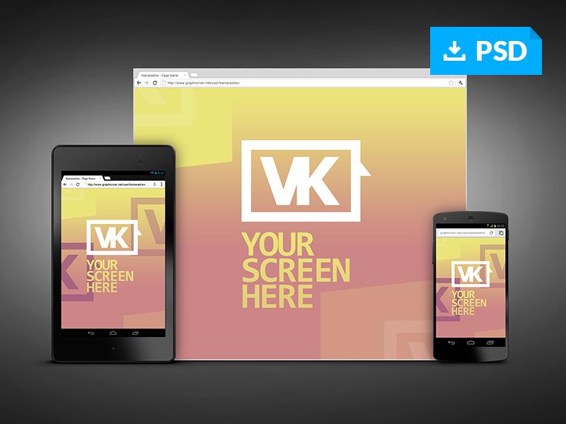 responsive screen web mockups - free psdvasil kamarashev, Powerpoint templates