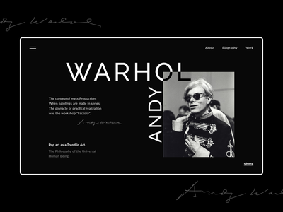 Home Page | Andy Warhol home page figma ui  ux design