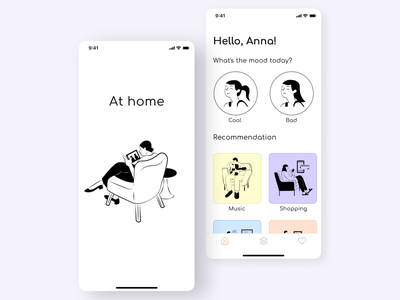 Mobile app | At home mobile app splash screen main page figma ui  ux design