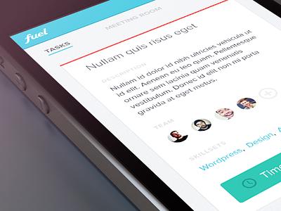 Fuel UI ios app iphone bright colorful ui interface flat clean minimal
