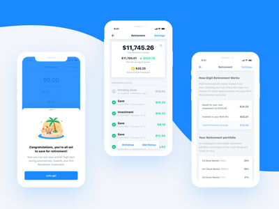 Digit.co Retirement interface design branding typography bank minimal clean fintech banking userinterface product design apps ux ui finance ios mobile