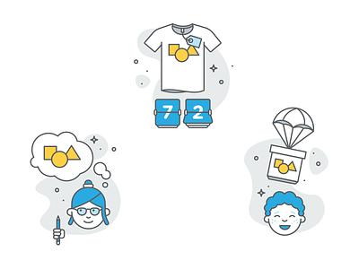 """How It Works"" Illustrations icon set icon organic spot ecommerce shirt teespring illo cute vector interface ui illustration design brand logo branding minimal clean"