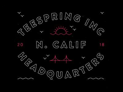 Teespring Employee Shirt Illustration shirt design swag merch california san francisco ocean print design vector illustration brand type logo branding typography minimal clean shirt