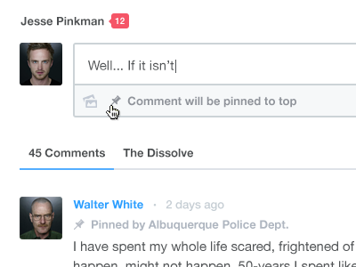 Disqus Pinned Comments icon animation flat type product ios mobile feature interaction web app minimal clean product design ux ui