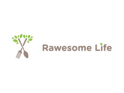 Rawesome Life Logo Concept logo design branding clean minimal green brown natural
