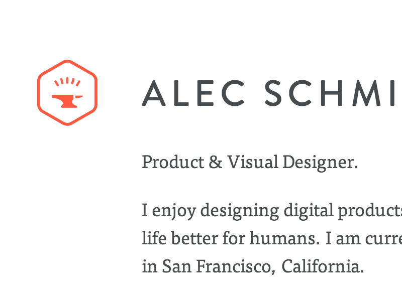 I have a website. website clean minimal anvil red orange alec ux ui