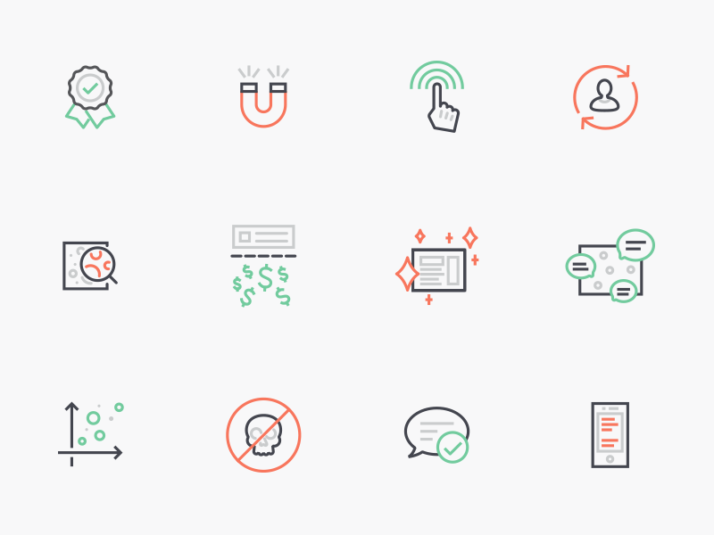 Line Icons to Tell a Story kit ui red green icon set free minimal clean line icon icons